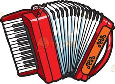 A musical instrument called the accordian :  A red accordion with black and white keys  The post A musical instrument called the accordian appeared first on VectorToons.com.