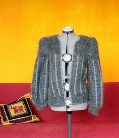 #Handmade #Knitted #Gray #Chic #Sweater, #Bohemian, #Hipster, #Handknitted, #Knit, #Mohair, One of a Kind, #Rare #Jumper, #Cool #Exclusive #Design by DurgaUniverse on Etsy