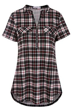20530339d4a Fantastic Zone Women Casual Short Sleeve Plaid Zip Tunic Shirts Blouses