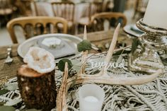 Antlers, Silver Candle Holder, Macrame Runner, Wood Stump, Silver Charger, Dusty Blue Napkin  P.C. Misty Mclendon Photography Silver Candle Holders, Wood Stumps, Dusty Blue, Antlers, Our Wedding, Table Decorations, Napkin, Macrame, Charger