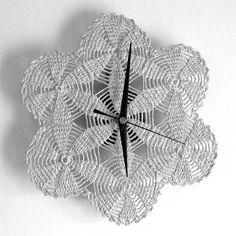 silver crochet wall clock