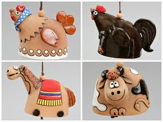 Ceramic Animal Bells : Hen Cock Horse Cow by Molinukas on Etsy