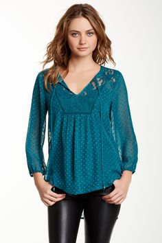 Have It: This came in my box one month in pink but was damaged. I found it at Nordstrom Rack in the blue color and grabbed it! Daniel Rainn Swiss Dot Peasant Blouse by Daniel Rainn on @nordstrom_rack