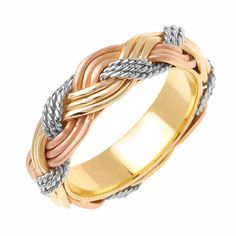6mm 14K Tri-Color Gold Braided Rope Comfort Fit Wedding Band Available Size (5 to 14) - Size 5