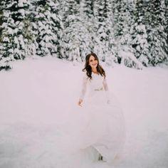 Modest wedding dress with long sleeves from alta moda. Wedding Bells, Wedding Ceremony, Pretty White Dresses, Wedding Planning, Wedding Ideas, Photo Style, April 27, Dark Forest, Modest Wedding Dresses