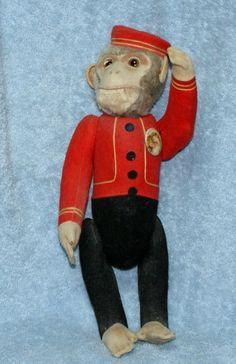 "15"" RARE Antique Schuco Yes No Monkey Mohair Glass Eyes Excellent Cond | eBay"