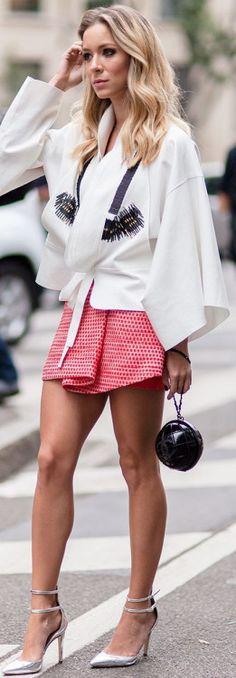 Teenage Fashion Blog: White Cape Coat with Red Polka Dots Skirt , Black ...