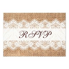 Rustic Country Burlap Lace Wedding RSVP Cards