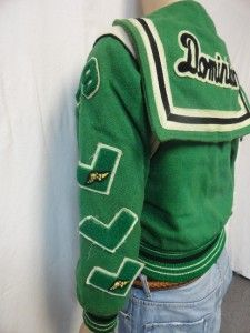 cheer letterman jackets | ... about VINTAGE 1979 GREEN CHEERLEADING VARSITY LETTERMAN JACKET SIZE: M