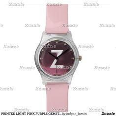 PRINTED LIGHT PINK PURPLE GEMSTONE MONOGRAM WRISTWATCH #gemstones #fashion #watch #accessory #gems #3d #geek #tech #jewel