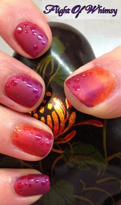Sunset matte nail art with dew drops