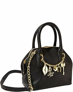 Simply charming, my darling!  Rock an edgy-girl attitude with this charm detailed satchel from Betsey