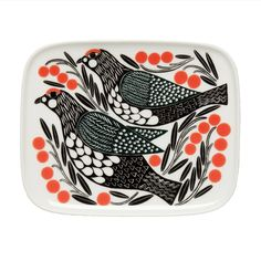 Assiette à dessert Kiruna Marimekko - Multicolore Marimekko, Brighton Shops, My Design, Modern Design, Design Shop, Classic Dinnerware, Scandinavia Design, Bird Patterns, Red Berries