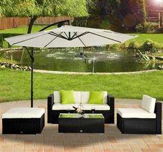 [GBP £399.99]Outsunny 5 Pc Garden Rattan Furniture Set Black Colour