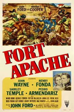 Fort Apache - John Ford - 1948 - starring John Wayne, Henry Fonda, Shirley Temple and Pedro Armendáriz. Old Movies, Vintage Movies, Great Movies, Cinema Tv, Films Cinema, Old Movie Posters, Cinema Posters, Forte Apache, Shirley Temple