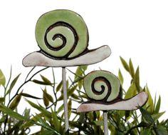 Schnecke Gartenkunst - Pflanze Stake - Garten Dekor - Schnecke Ornament - Keramik Schnecke - klein - grün