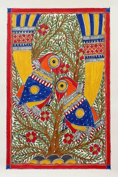 Madhubani painting, 'Early Morning' by NOVICA