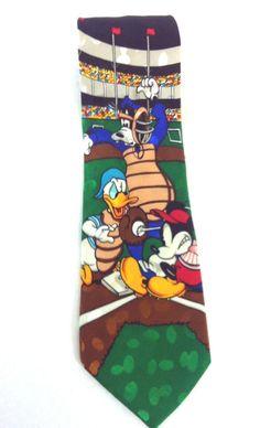 Disney Store Mickey Mouse Baseball 100% Silk Tie Necktie Donald Duck Goofy  #TheDisneyStore #NeckTie