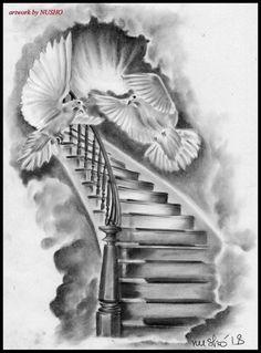 Stairway To Heaven Tattoo, Stairs To Heaven, Forearm Sleeve Tattoos, Best Sleeve Tattoos, Tattoo Sleeve Designs, Tattoo Designs Men, Angel Sleeve Tattoo, Dove Tattoo Design, Religion Tattoos