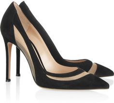 Gianvito Rossi Meshpaneled Suede Pumps  #shoes www.finditforweddings.com