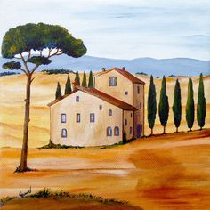 """""""Toskana 1 modern"""" Painting by Christine Huwer posters, art prints, canvas prints, greeting cards or gallery prints. Find more Painting art prints and posters in the ARTFLAKES shop. Landscape Paintings, Watercolor Paintings, Art Sur Toile, Tuscany Landscape, Tea Art, Chalk Art, Canvas Prints, Art Prints, Land Scape"""