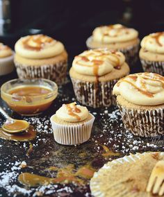 Salted Caramel Cupcake recipe TidyMom.net    Starts with a cake mix and makes 24 regular and 12 mini cupcakes.