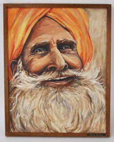 "Vintage ""Face of the Nile"" Oil Painting Smiling Bearded Sikh w Orange Turban Turban, Orange, Face, Painting, Oil, Vintage, Painting Art, The Face, Paintings"