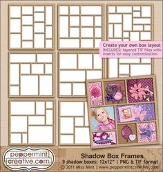 Shadow Box Frames | Digital Scrapbook Elements from www.peppermintcreative.com