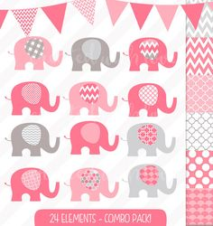 Elephant Clip Art Combo Pack - Baby Elephant - Pink and Grey - Digital Papers - Bunting and Flags - Baby Shower Invitation Images by igivelove on Etsy Paper Bunting, Baby Elephant, Baby Shower Invitations, Pink Grey, Packing, Clip Art, Digital Papers, Unique Jewelry, Babyshower