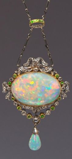 A Belle Epoque Platinum, Rose Gold, Opal, Diamond and Demantoid Garnet Necklace…