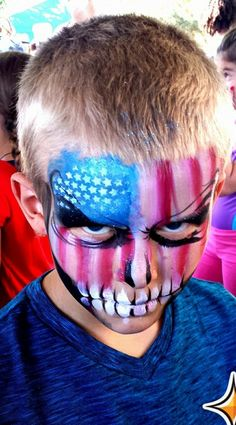 Face Painting For Boys, Baby Painting, Skull Painting, Face Painting Designs, Paint Designs, 4th Of July Makeup, Face Paint Makeup, Boy Face, Blue Birthday
