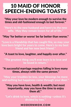 Looking for a unique way to end your maid of honor speech? Check out our 10 favorite sentimental toasts guaranteed to get glasses clinking! #maidofhonortoastquotes #maidofhonorspeechquotes #ModernMaidofHonor #ModernMOH Maid Of Honor Responsibilities, Matron Of Honor Speech, Maid Of Honour Gifts, Matron Of Honour, Wedding Toast Quotes, Wedding Speech Quotes, Wedding Toasts, Wedding Prep, Wedding Stuff