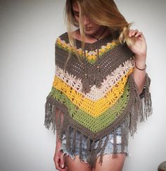 Indie style crochet poncho.  on Etsy, $99.00 AUD