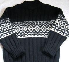 Vintage Men's Black and Cream Norwegian Wool Sweater by vintagous, $30.00