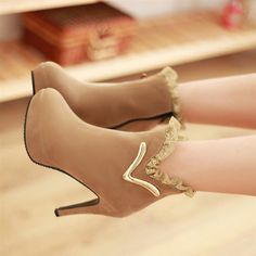 Autumn new Korean sweet Princess lace edge metal short boots fine with simple Martin high waterproof boots $14.59