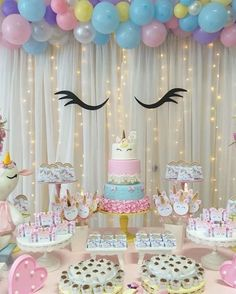 Birthday Party and Birthday Banners, Party Inspirations Unicorn Themed Birthday Party, Unicorn Birthday Parties, First Birthday Parties, Birthday Party Decorations, Girl Birthday, First Birthdays, Unicorn Party Decor, Girls Birthday Party Themes, Birthday Ideas