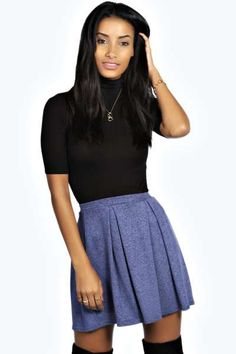 Charlotte Slub Knit Skater Skirt at boohoo.com
