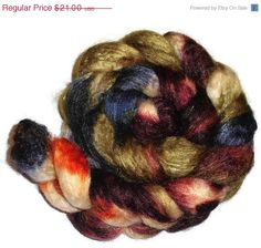 Christmas in July SW BFL Wool and Tussah Silk Roving - Hand Dyed Spinning Fiber - Fiber art - Camouflage