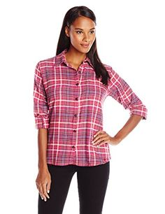 Dickies Women's Long-Sleeve Plaid Flannel Shirt >>> Learn more by visiting the image link.