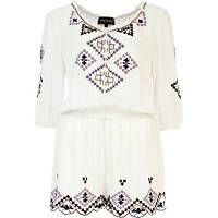 Cream embroidered playsuit river island 55