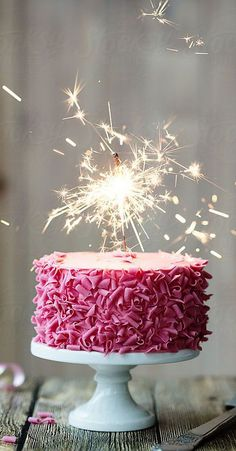 Birthday Cake Sparklers Lovely Pink Celebration Cake with Sparkler by Ruth Black - Celebration cakes for women, Party organization ideas, Party plannig business Birthday Cake Sparklers, 23 Birthday Cake, Happy Birthday Wishes Cake, Birthday Cake With Candles, Birthday Blessings, Birthday Desserts, Happy Birthday Messages, Happy Birthday Quotes, Happy Birthday Images