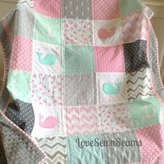 Hey, I found this really awesome Etsy listing at https://www.etsy.com/listing/507180208/pink-mint-gray-nautical-quilt-baby