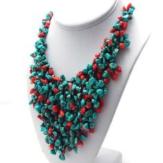 Collar peto en cascada, con corales rojos y turquesas, hilos de algodón (Tailandia) | Overstock.com Shopping - The Best Deals on Necklaces