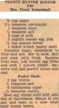Peanut Butter Scotch Pie Recipe Clipping