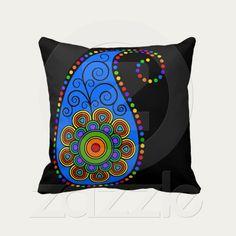 Funky Paisley ~ Rainbow Throw Pillow