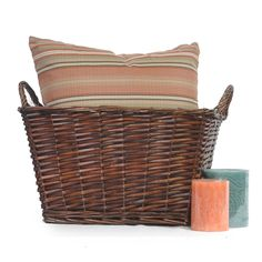 Avery Med Mahogany Rect Utility Basket with Handles 14in