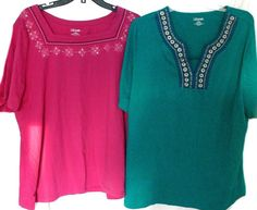 Lot of 2 tunic Liz & Me Aqua Teal Pink Blouse Embroidered Beaded Top 1X 18/20  #LizMe #Blouse #Casual