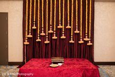 Haldi ceremony stage decor original Simple Stage Decorations, Engagement Stage Decoration, Naming Ceremony Decoration, Wedding Hall Decorations, Desi Wedding Decor, Marriage Decoration, Backdrop Decorations, Wedding Mandap, Flowers Decoration