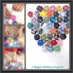 """Stuffing bubble wrap with fabric & ribbon... great for fine-motor work - from Reggio Children Inspired ("""",)"""