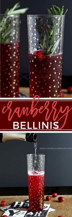 Ring in the new year by making these seasonal Cranberry Bellinis! Unsweetened cranberry juice is combined with simple syrup and prosecco to create these festive cocktails that are perfect for New Year's Eve!
